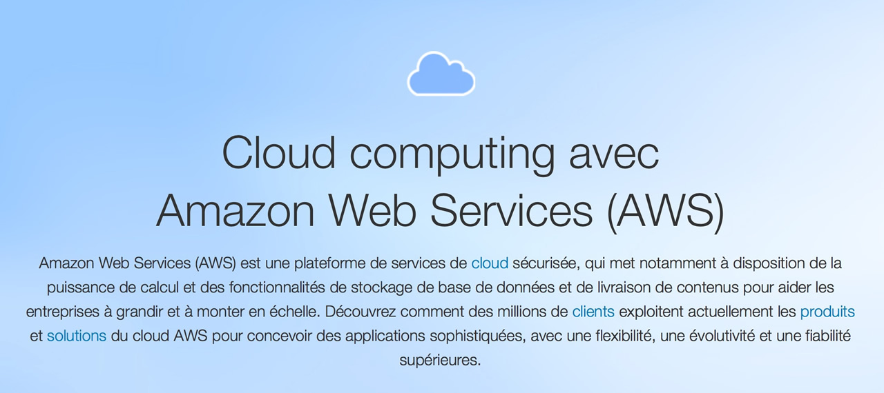 Copie écran de page explicative des services de Cloud d'Amazon